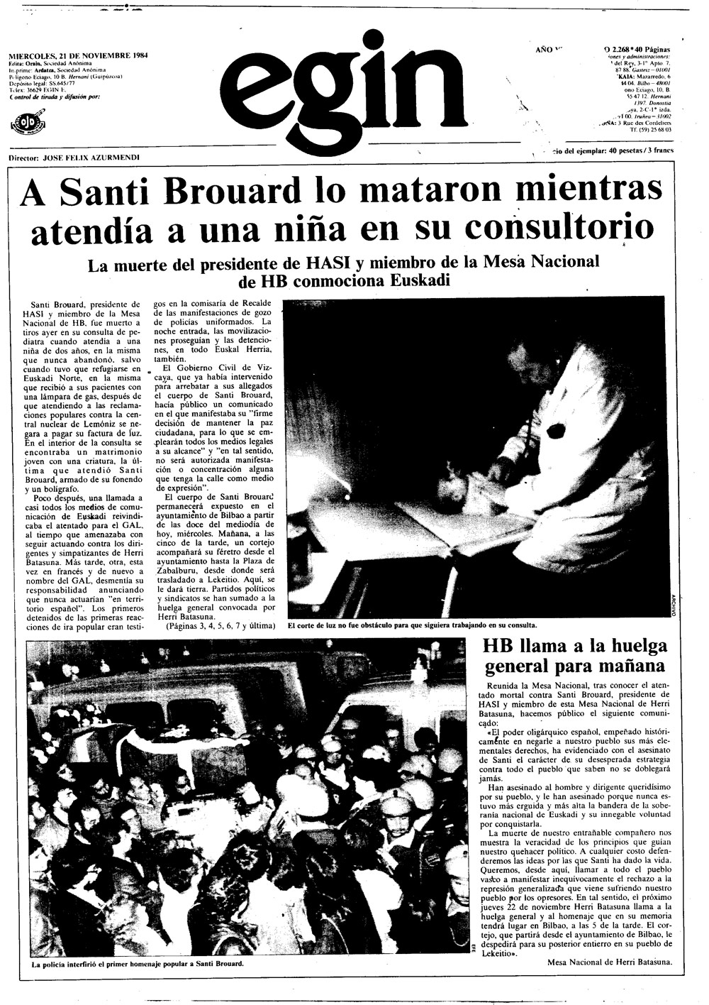 Santi Brouard, Egin-en.