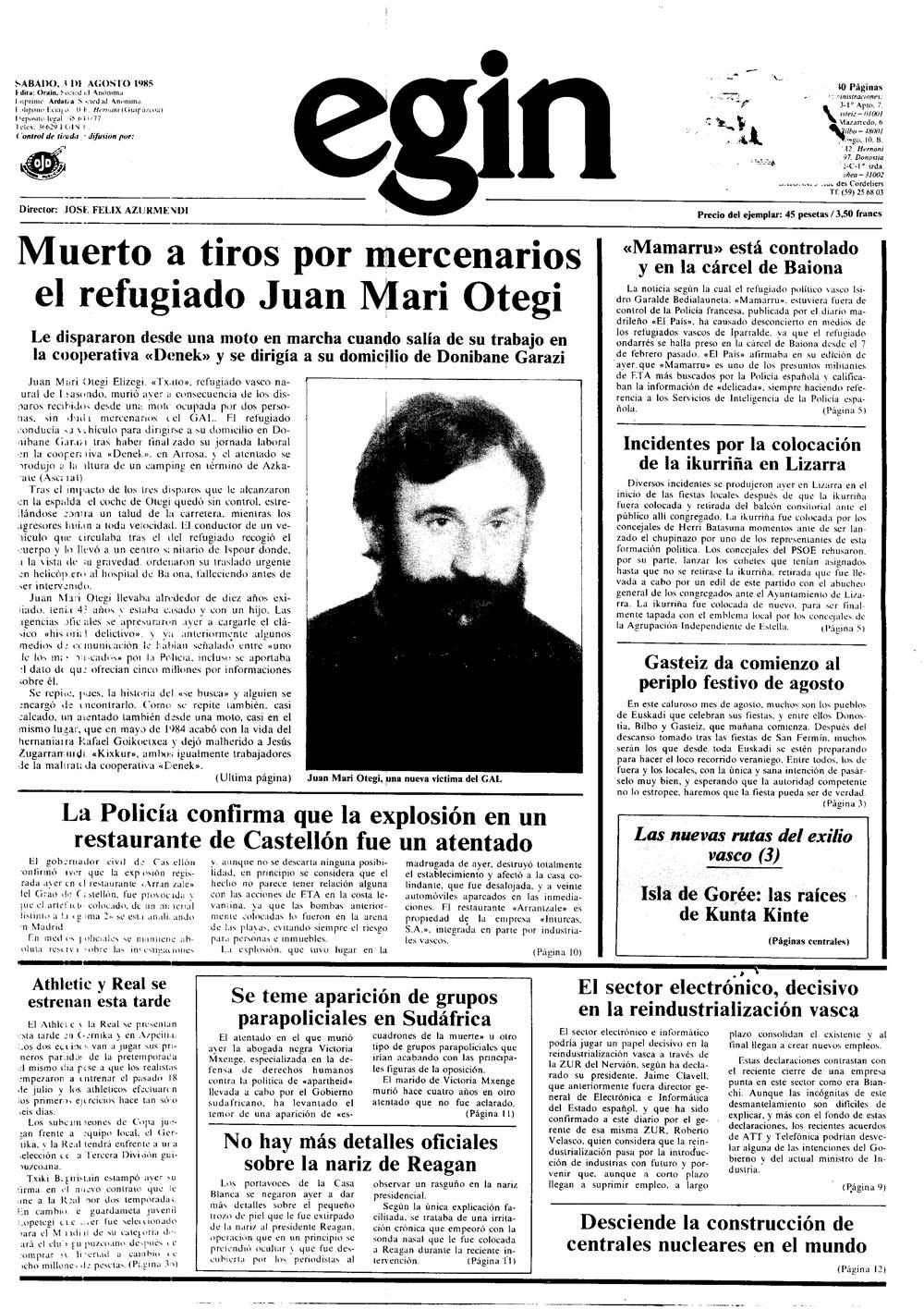 Juan Mari Otegiren hilketa, Egin-en.