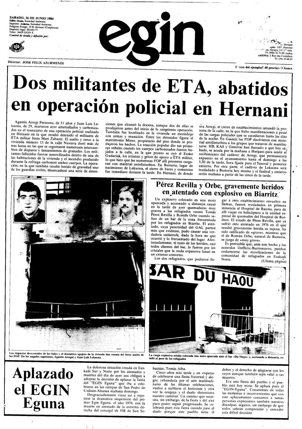 Tomas Perez Revilla, Egin-en.