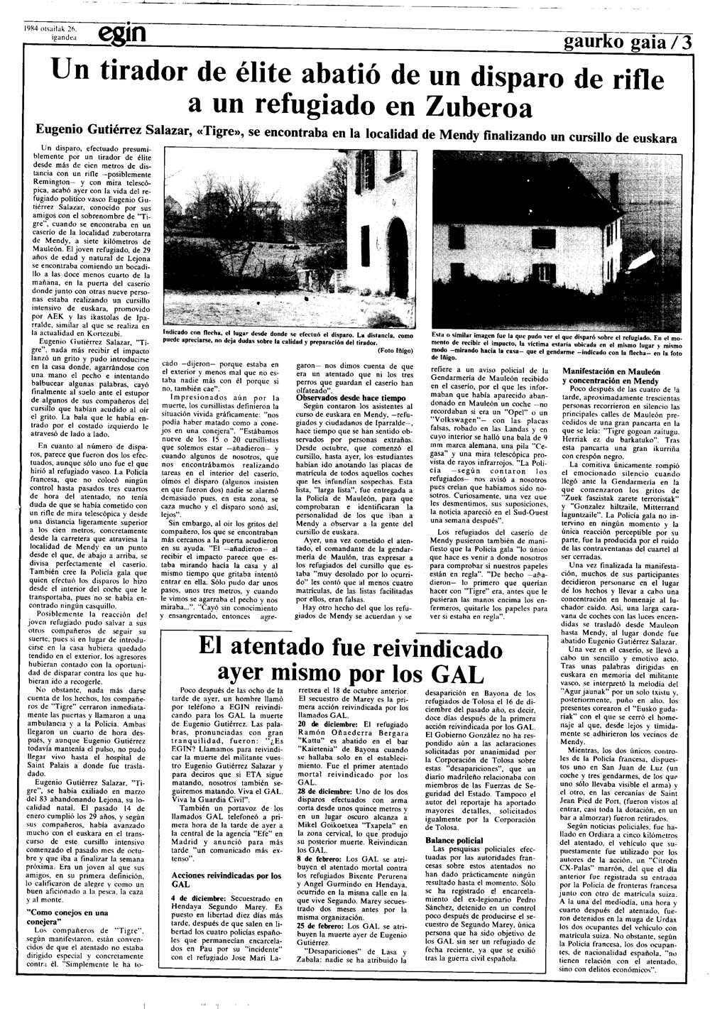 Eugenio Gutierrez Salazar, Tigreren hilketa, Egin-en.