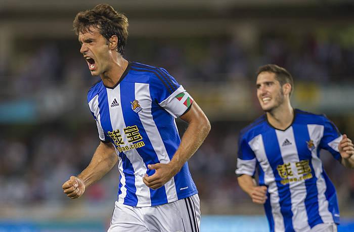 Xabi Prieto Realeko jokalaria Krasnodarri sartutako gola ospatzen. ©Andoni Canellada / Argazki Press