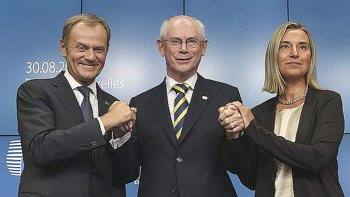 Donald Tusk, Herman Van Rompuy eta Federica Mogherini, atzo, Bruselan. / ©OLIVIER HOSLET / EFE