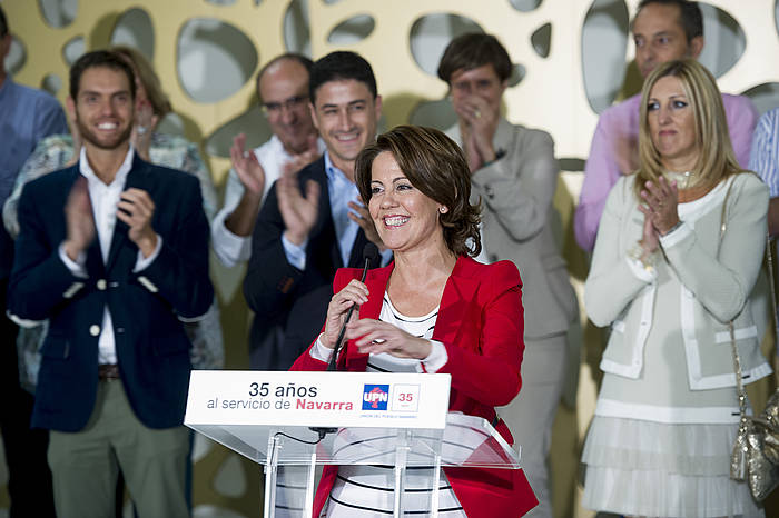 Yolanda Barcina, UPNk urte politikoari ekiteko Cadreitan eginiko ekitaldian. ©Iñigo Uriz / Argazki Press