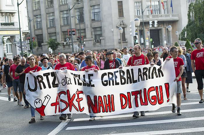 Grebalarien aldeko manifestazioa, ekainean. / ©MARISOL RAMIREZ / ARGAZKI PRESS