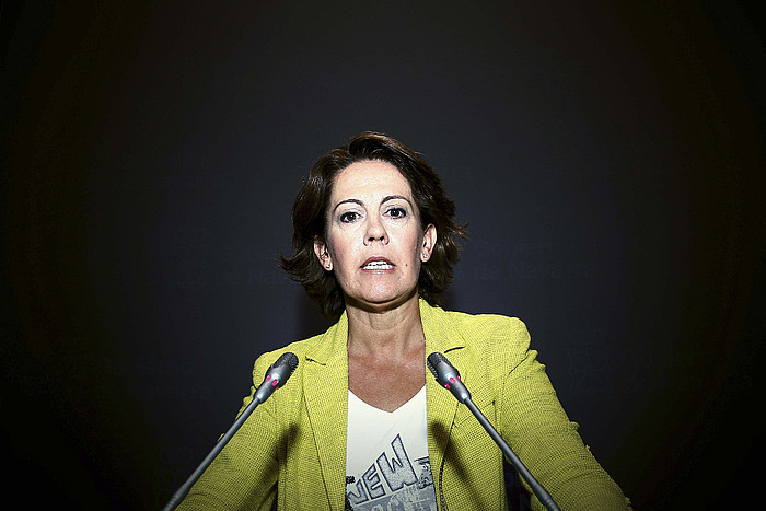 Yolanda Barcina, Nafarroako lehendakaria, atzo, gobernu kontseiluaren osteko agerraldian. ©Ivan Aginaga / EFE