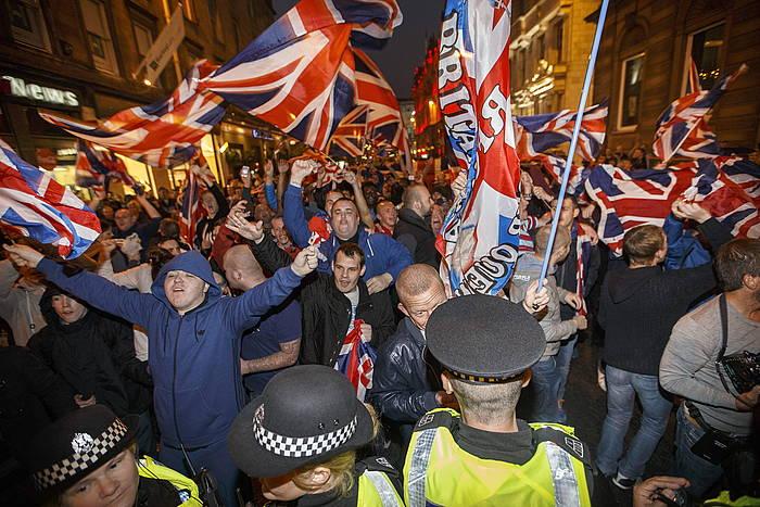 Eskuin muturreko unionistan, Glasgown, independentziaren aurkako manifestazio batean. ©Robert Perry / EFE