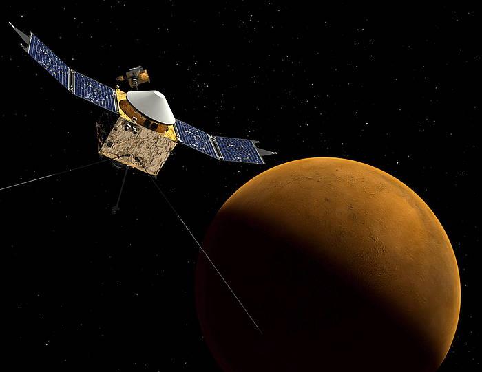 Maven, Marteren orbitan, NASAk egindako irudi batean. / ©NASA/Goddard Space Flight Center
