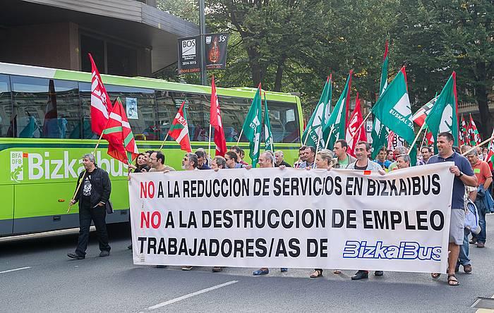 Bizkaibuseko langileen protesta, gaur goizean Bilbon. / ©Argazki Press