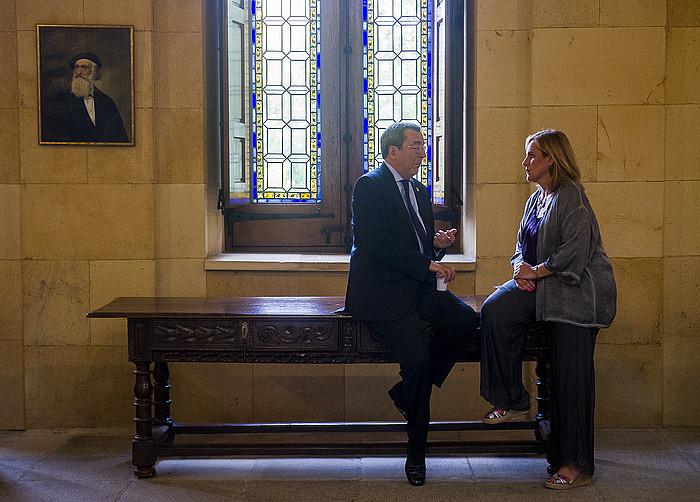Jose Luis Bilbao ahaldun nagusia eta Itxaso Atutxa EAJren BBBko presidentea, asteartean. ©Luis Jauregialtzo / Argazki Press