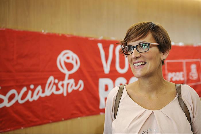 Maria Txibite, atzo, botoa emateko unean. ©Idoia Zabaleta / Argazki Press