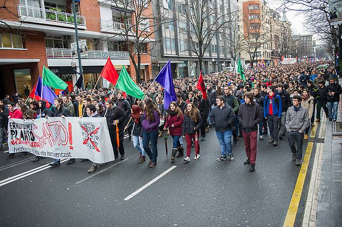 Protestak egin dituzte hiriburuetan hezkuntza erreformen alde. ©/ Argazki Press