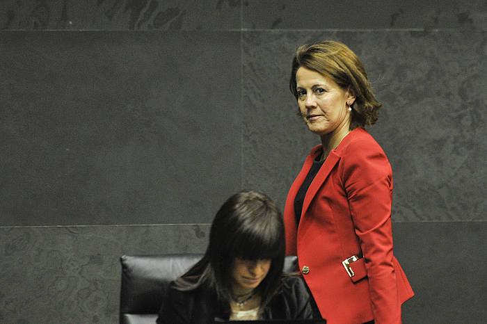 Yolanda Barcina, gaur, Parlamentuan./ ©Idoia Zabaleta, Argazki Press
