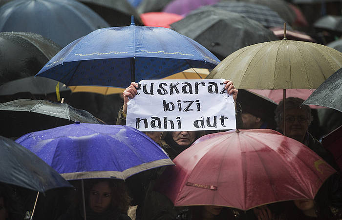 Euskararen Gizarte Erakundeen Kontseiluak otsailean Donostian deitu zuen manifestazioa./ ©Jon Urbe, Argazki Press