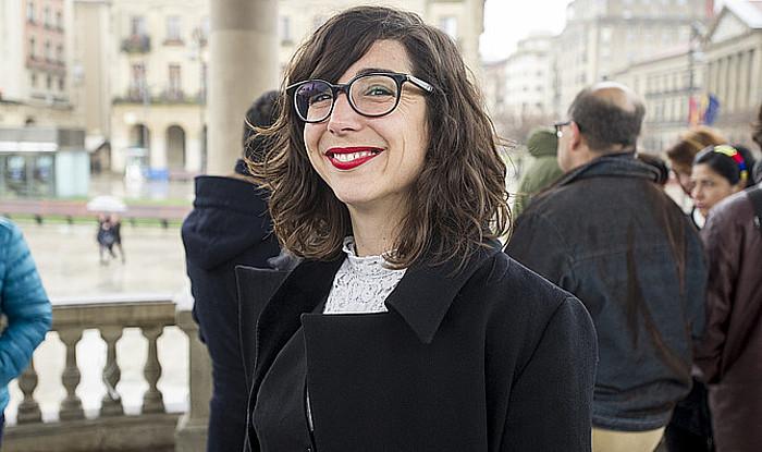 Laura Perez, martxoaren 23an, Iruñean, primarioetarako bere taldearen aurkezpenean ©/ Iñigo Uriz, Argazki Press