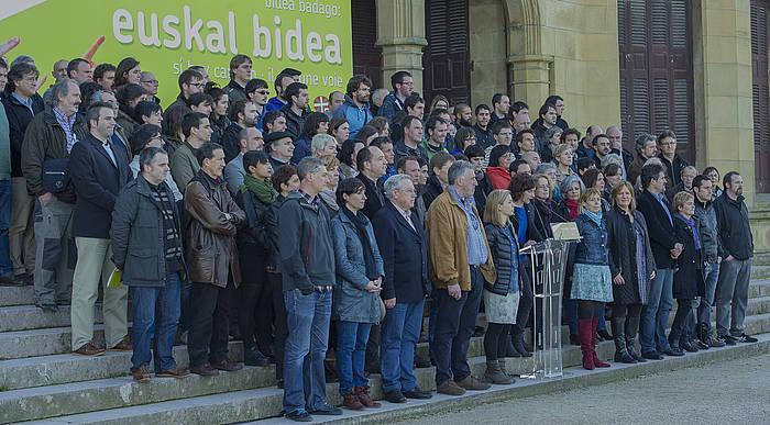 EH Bildu eta EH Baioko ordezkariek Aberri Egunerako adierazpen berri eman zuten atzo, Donostiako Miramar jauregian. ©Andoni Canellada / Argazki Press