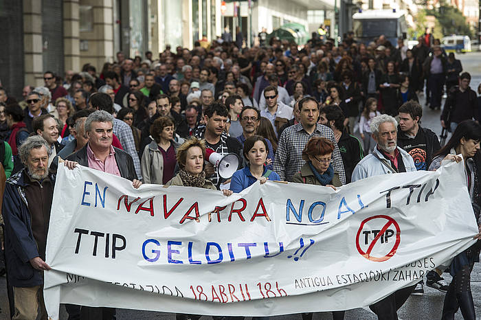 TTIParen kontrako manifestazioa, atzo, Iruñean./ ©Jagoba Manterola / Argazki Press