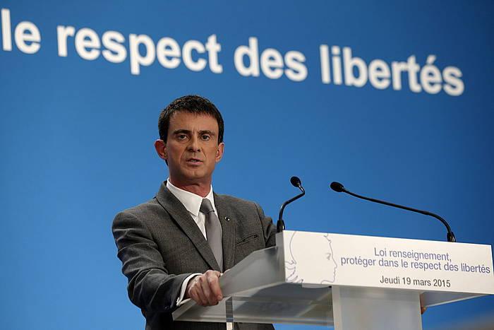 Manuel Valls Frantziako lehen ministroa, lege proiektua aurkezten, martxoan. ©Philippe Wojazer / EFE
