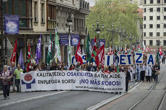 Langileek apirilean egindako protesta, Bilbon. ©Monika del Valle / Argazki Press