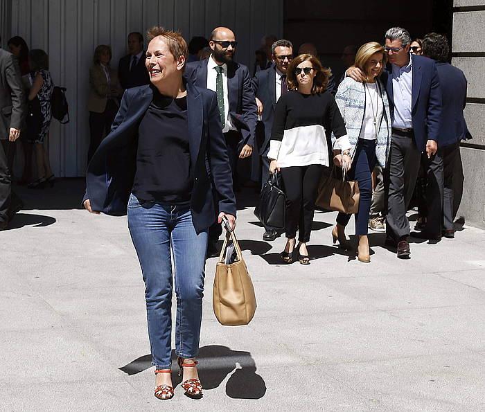 Uxue Barkos, atzo, Espainiako Kongresuan, bere azken egunean. Diputatu izateari utziko dio Nafarroako Gobernua osatzeko elkarrizketei ekiteko./ ©PACO CAMPOS, EFE