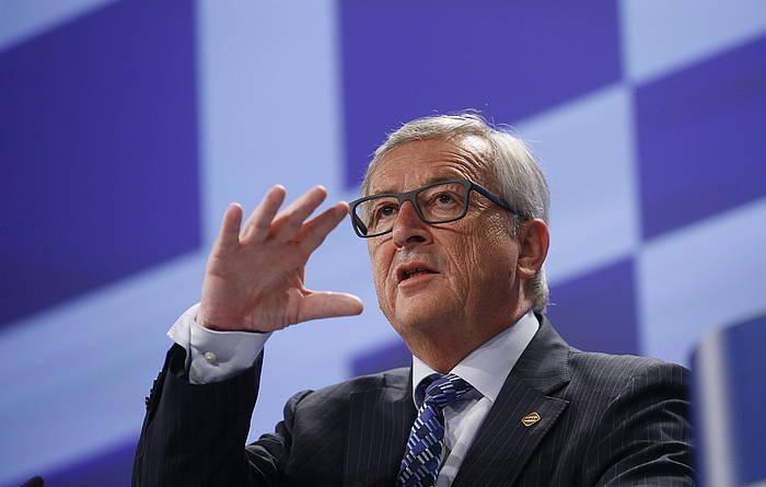 Jean Claude Juncker EB Europako Batzordeko presidentea, Greziako Gobernuak deitu duen galdeketaren aurrean duen jarrera azaltzeko agerraldian. ©Olivier Hoslet / EFE