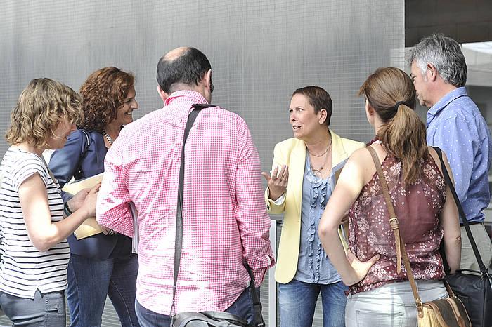 Geroa Bai, EH Bildu, Ahal Dugu eta Izquierda-Ezkerra alderdietako ordezkariak, joan den astean egindako bileran. ©Idoia Zabaleta / Argazki Press