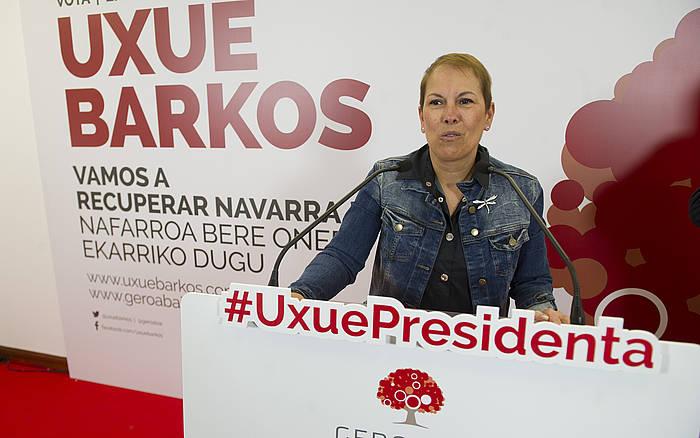 Uxue Barkos, kanpainako ekitaldi batean. / ©Jagoba Manterola, Argazki Press