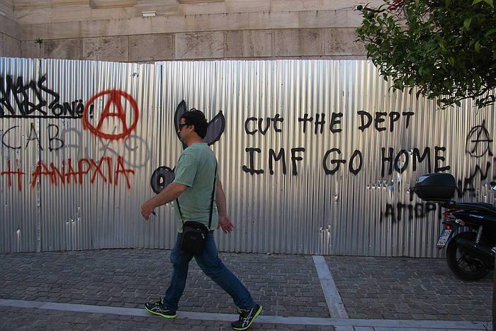NDFren aurkako pintada bat, Atenasko kale batean. ©/ Samara Velte