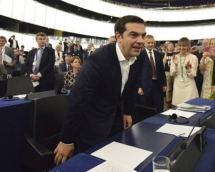 Greziari buruzko goi bilera Bruselan: Draghi, Hollande, Rajoy, Tsipras eta Renzi. ©Olivier Hoslet / EFE