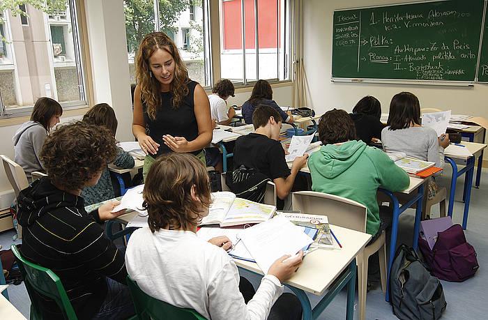 Baionako Bernat Etxepare lizeoko hainbat ikasle. ©Bob Edme / Le Journal