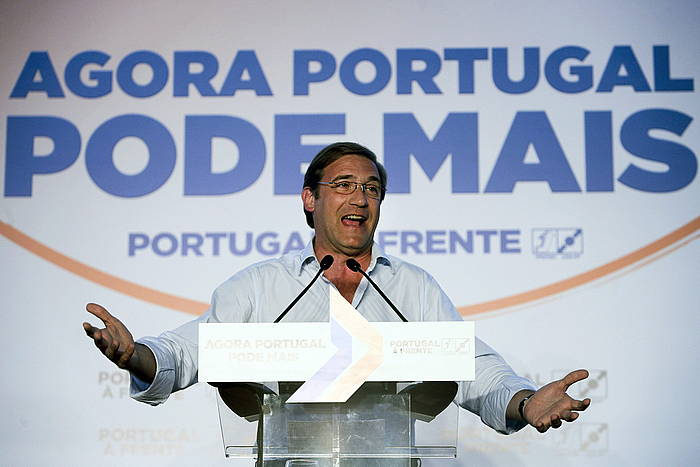 Pedro Passos Coelho kanpainako mitin batean. ©Miguel A. Lopes / EFE