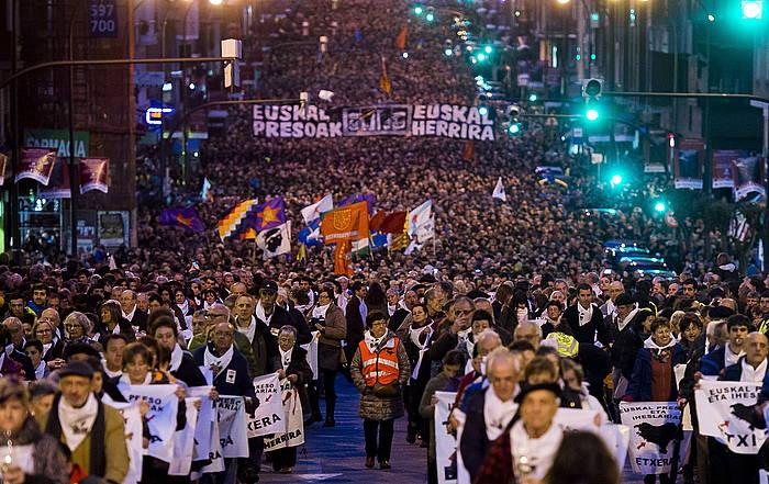 Presoen eskubideen aldeko manifestazioa, urtarrilaren 9an, Bilbon. / ©Luis Jauregialtzo, Argazki Press