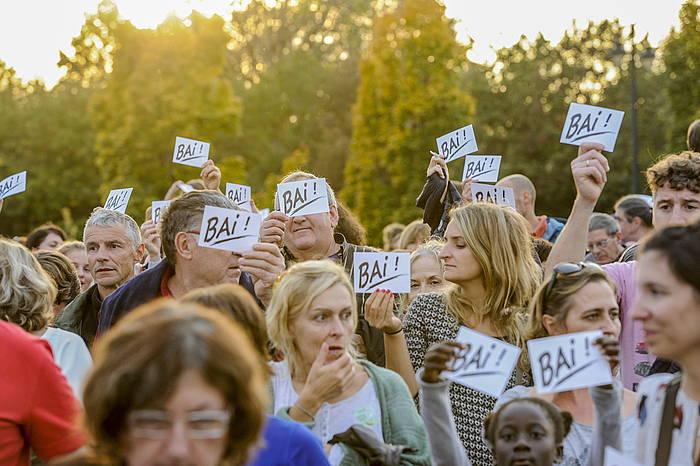 Hirigune elkargoaren aldeko aldarria, Deiadar manifestazioan, iaz. Baiona. ©Gorka Rubio / Argazki Press