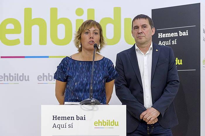 Miren Larrion eta Arnaldo Otegi, gaur, Gasteizen. ©Juanan Ruiz / Argazki Press