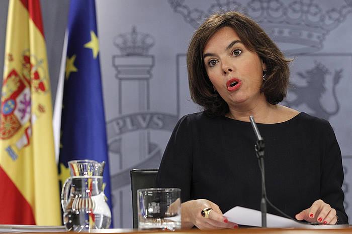 Soraya Saenz de Santamaria, ministroen kontseilu osteko agerraldian. ©Zipi / EFE