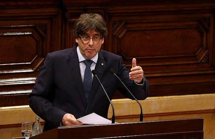Carles Puigdemont presidentea, Kataluniako Legebiltzarrean. ©Toni Albir / EFE