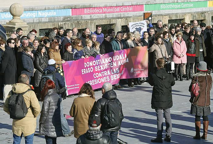 Elkarretaratzea egin dute Donostian. ©Juan Herrero, Efe