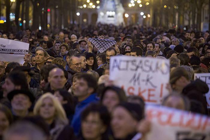 Manifestazio jendetsua egin zuten Iruñean Altsasuko auzian espetxeratutakoen alde. ©Iñigo Uriz / Argazki Press