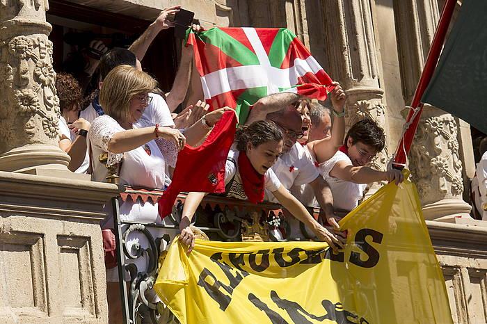 Aldarrikapen sozialek tokia izan zuten iazko txupinazoan ©Iñigo Uriz