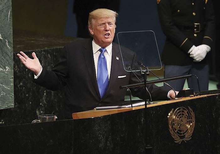 Trump, gaur, NBEren egoitzan. / ©ANDREW GOMBERT, Efe