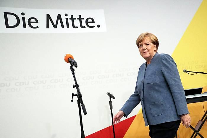 Angela Merkel, atzo, emaitzan jakitera eman osteko hitzartzean. ©CARSTEN KOALL / EFE