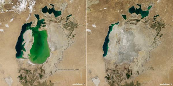 Aral itsasoa 2000. urtean eta 2014an. / ©BERRIA