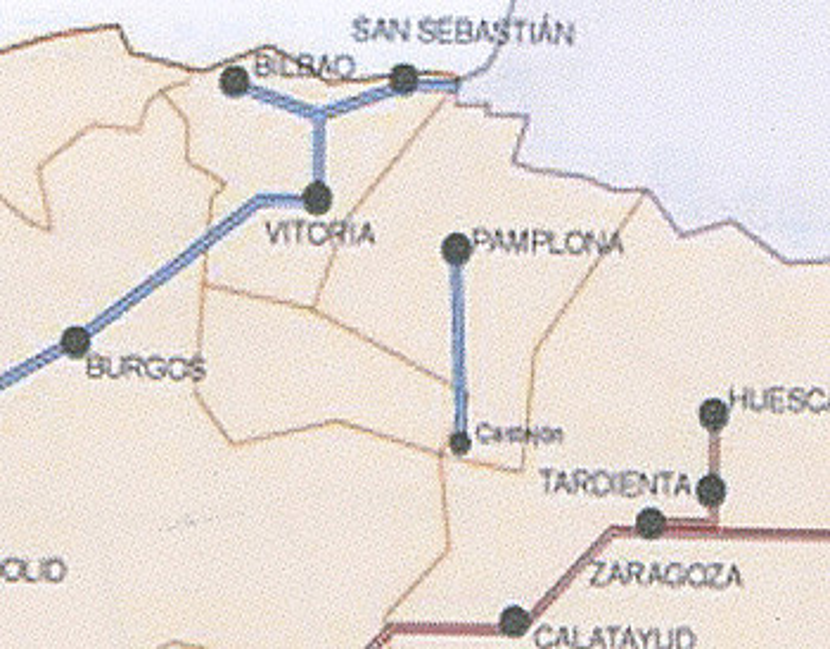 Nafarroako Sustapen kontseilari Luis Zarralukik atzo parlamentuan erakutsi zuen mapa. Nafarroako korridorea loturarik gabe ageri da.