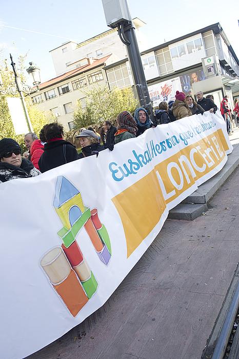LOMCEren kontrako protesta, Eusko Legebiltzarraren aurrean. ©RAUL BOGAJO / ARP