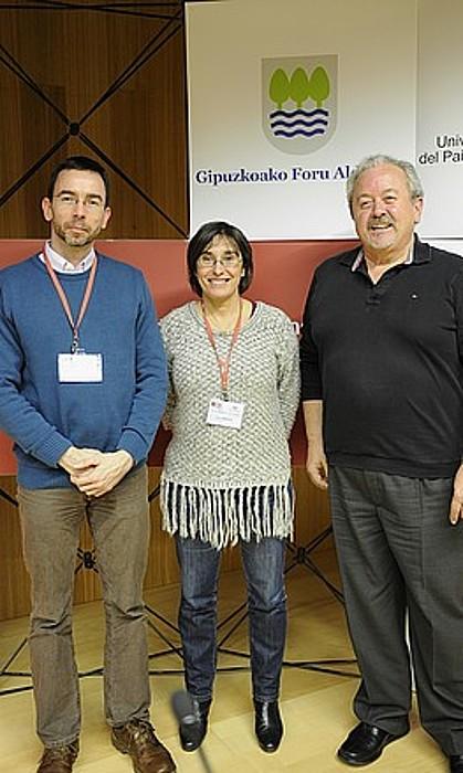 Stephen Noon, Zelai Nikolas eta Pere Puges, atzo, Donostian. / A. CANELLADA / ARP