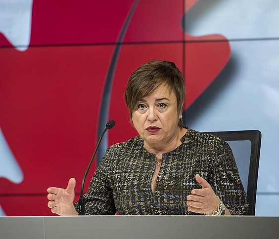 Isabel Sanchez Robles Gizarte Ekintza diputatua, atzoko agerraldian. ©M. D. V. / ARP