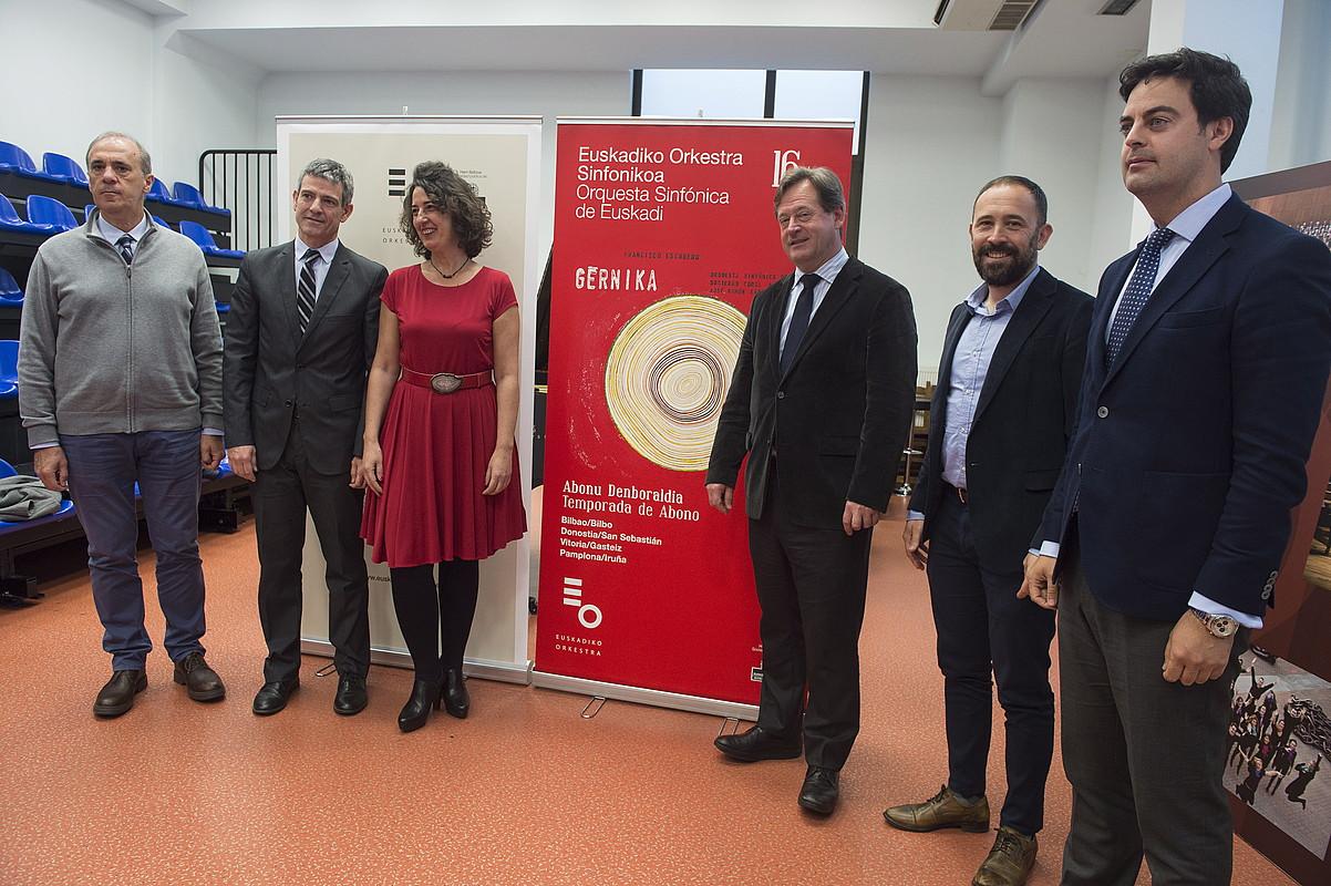 Francisco Escudero konpositorearen <em>Gernika</em> operan oinarritutako Euskadiko Orkestra Sinfonikoaren kontzertuaren aurkezpena, atzo. &copy;MONIKA DEL VALLE / ARP