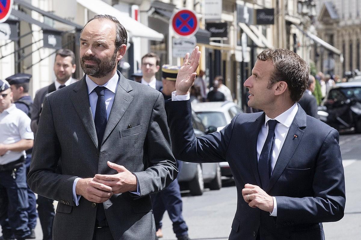 Edouard Philippe lehen ministroa eta Emmanuel Macron presidentea, artxiboko irudi batean. ©ETIENNE LAURENT / EFE