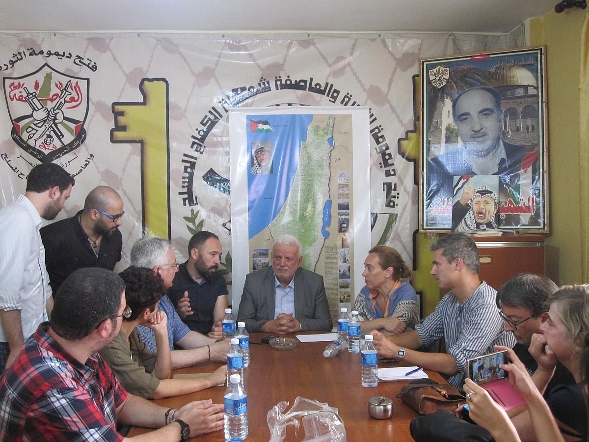 Gipuzkoako Foru Aldundiaren eta Fathi Abu el-Adarath PAEk Libanon duen buruzagiaren arteko bilera. ©MIKEL RODRIGUEZ