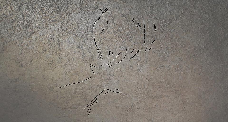 Orein eme baten grabatua ageri da goiko irudian, eta orein ar batena behekoan; biak Arbil V leizean daude. ©BLANCA OTXOA