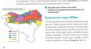 'Egizu 3' ikasliburuak 16. orrialdean agertzen duen Euskal Herriko mapa.